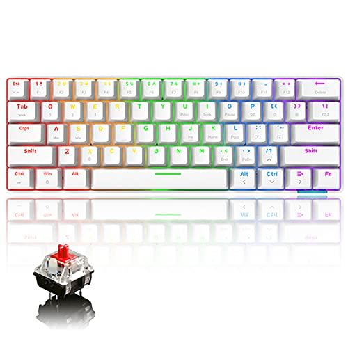 Tastiera meccanica al 60% cablata /Tastiera Bluetooth senza fili RGB Rainbow LED retroilluminato USB Type-C Tastiera da gioco impermeabile Tasti anti-ghosting (interruttore rosso)