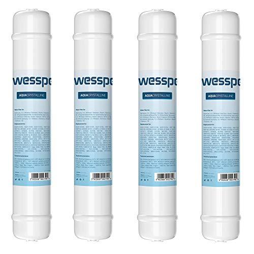 Wessper Cartouche Filtre à Eau Externe pour Réfrigérateurs Samsung LG Daewoo Rangemaster Beko Haier DA29-10105J, HAFEX/EXP, HAFEX EXP 5231JA2010B, 5231JA2010C, USC100, DA2010CB, BL9808 - Lot de 4