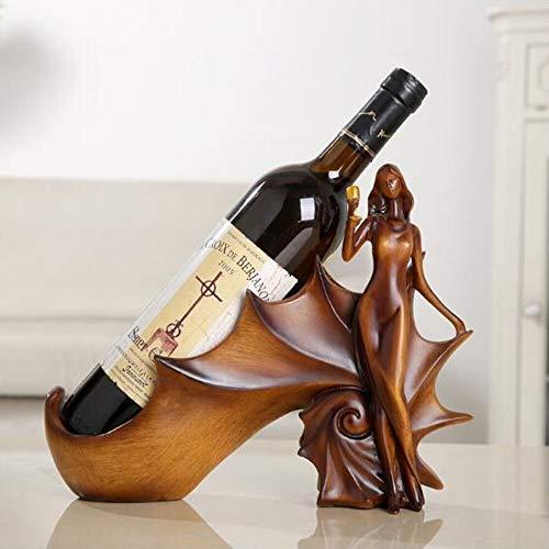 XIXV Domicile Bar Cocina Rack Vino Titular de Vino Estante Resina Escultura práctica Soporte de Vino Decoración del hogar Midland Crafts Regalo Gabinete pequeño (Color : Red)