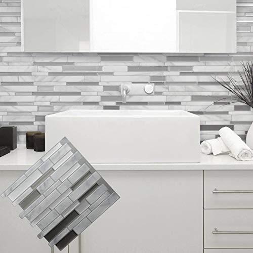 HLYMNB Blanco Gris Mármol Mosaico Mosaico y Adhesivo Azulejo de Pared Autoadhesivo Backsplash DIY Cocina Baño Inicio Vinilos Decorativos Vinilo 3D