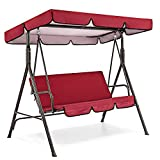 AGIZIO Outdoor Patio Swing Canopy Cover Set, 3 Seat Swing Replacement Canopy & Chair Cover, Garden Seater Sun Shade Treasures Porch Swing Furniture Protector (Red)