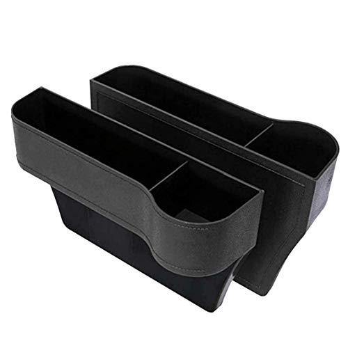 Car Seat Gap Filler 2 Pack, Side Seat Space Organizer, Car Seat Organizer with Car Cup Holder, Side Seat Space Organizer, Car Seat Storage Box with Car Accessories Interior(Black)