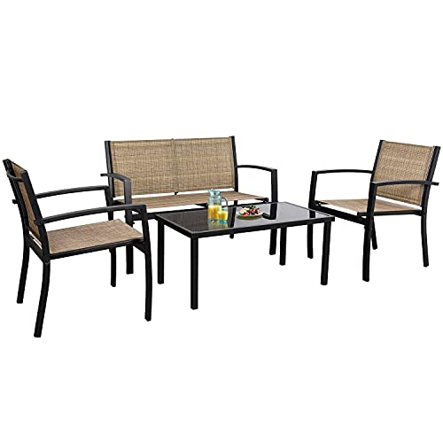 Flamaker 4 Pieces Patio Furniture Outdoor Furniture Set Textilene Bistro Set Modern Conversation Set Black Bistro Set with Loveseat Tea Table for Home, Lawn and Balcony (Yellow)