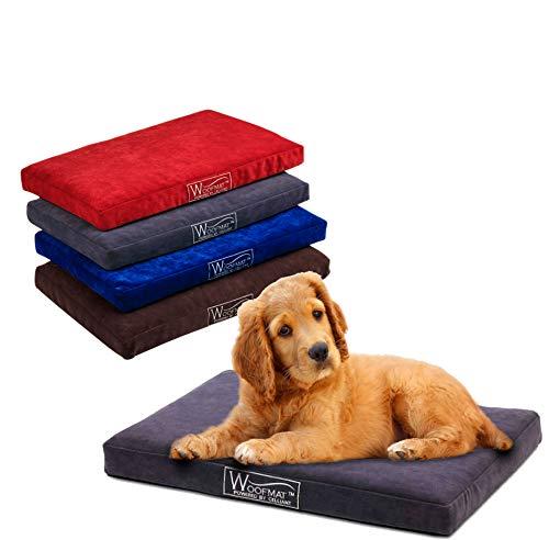 Woofmat Dog Dream Mat - Cama ortopédica para perros con fibras Celliant y tecnología de infrarrojos, cama para perros pequeños y grandes, resistente al agua y lavable, 120 x 80 cm, color marrón