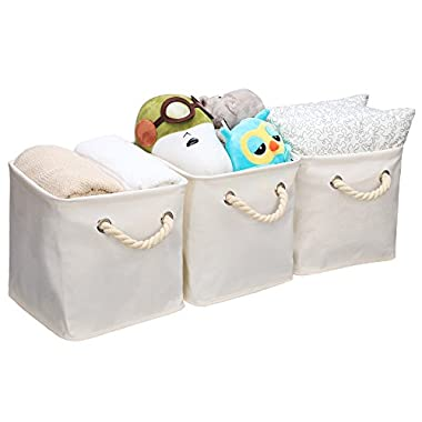StorageWorks Storage Cube Organizer Bin With Strong Cotton Rope Handle,Storage Baskets Of Waterproof Cotton Fabric,Foldable Storage Cubes By, Natural, Medium (Cube), 3-Pack, 10.6x10.6x11.0 inches