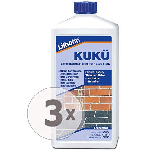 3x Lithofin Kukü Zementschleier-Entferner - Betonreiniger - Steinreiniger - 1 Liter