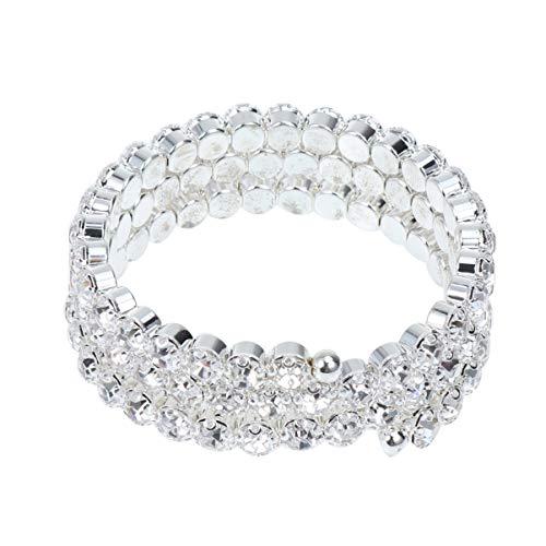 Healifty Runde Kristall Stretch Armband Manschette Breiten Armreif Stretch Strass Armband für Frauen Mädchen Braut Silber