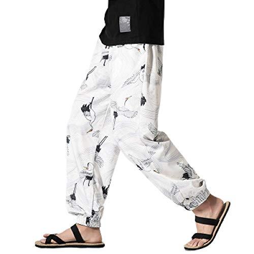 Pantalones Casuales de Estilo étnico para Hombre, Estampado Retro, Suelto, de Pierna Ancha, Cintura elástica, cómodos y Personalizados, Pantalones de Yoga para el hogar 5X-Large