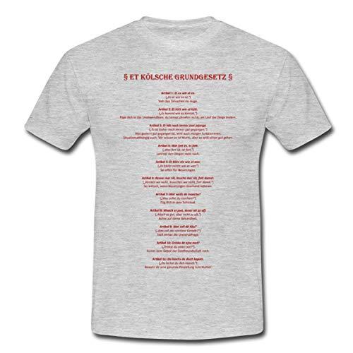 Et Kölsche Grundgesetz Männer T-Shirt, XXL, Grau meliert