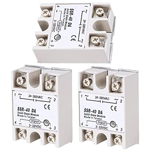 FeelMeet Solid State Relay Single Phase Solid State Relay Module 24-380V Output Semi-Conductor Relay SSR-40DA Relay Module 3PCS