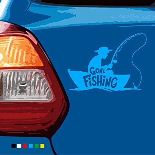 The Awesome Corner Shop - Gone Fishing (7-Year-Vinyl) Car/Laptop/Window/Wall/Decal-Sticker (Blue, 14cm width)