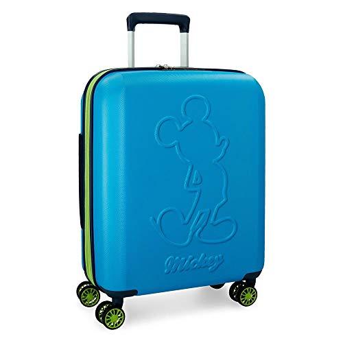 Disney Mickey Colored Maleta de cabina Azul 40x55x20 cms Rígida ABS Cierre TSA 38L 3,1Kgs 4 ruedas dobles Extensible Equipaje de Mano