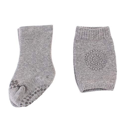 Borlai 0-3 jaar baby anti-slip sokken + kniebeschermers set kleine kinderen sokjes cadeauset 1~3 Jahre lichtgrijs