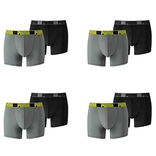 PUMA 8 ER Pack Boxer Short Active Men Pant Underwear, Farben:319 - Grey Yellow, Größe Bekleidung:M