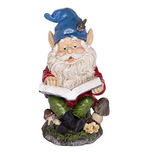 Alpine Gnome Reading a Book Statue, 14 Inch Tall
