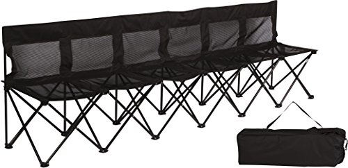Trademark Innovations Portable Sports Bench with Mesh Seat and Back - Sits 6 People