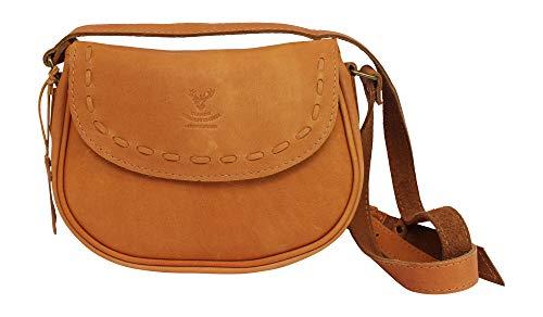 Barrhead Leather Wild Scottish Deerskin Designer Brown Kamelleder Authentic Cross Body Cartridge Handtasche