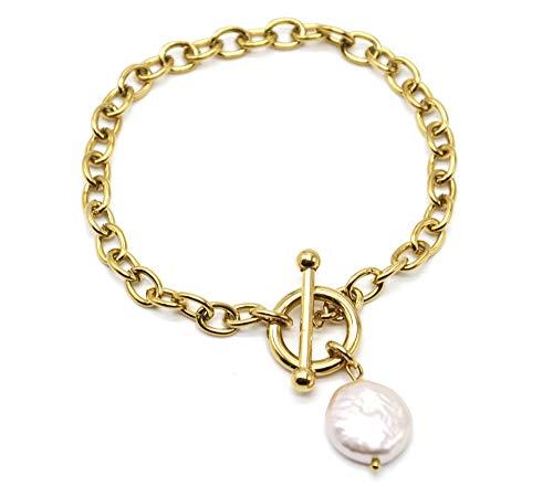 Oh My Shop BC4266 - Pulsera de cadena de eslabones círculos y barra de acero dorado con perla de agua dulce