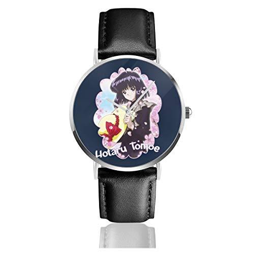 Unisex Business Casual Sailor Moon Hotaru Tomoe Saturn Uhren Quarz Leder Uhr mit schwarzem Lederband für Männer Frauen junge Kollektion Geschenk