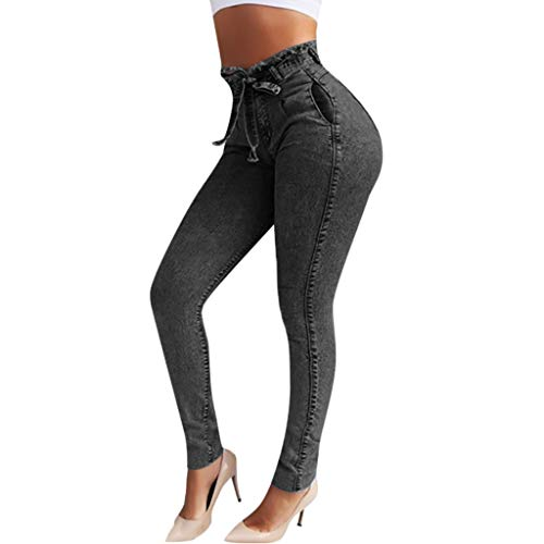RISTHY Jeans Skinny Push-Up Mujer Vaqueros Pantalones Elásticos Jeans Denim Largo Mujer Cintura Alta con Cordón Lazo Vaquero Tejano para Mujer Elástico Relaxed-Fit