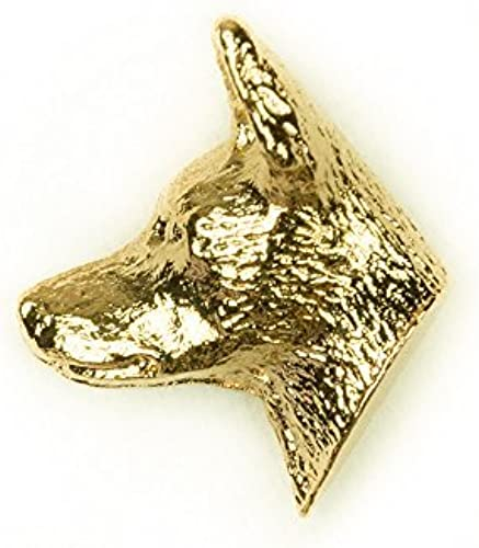 MIN PIN HEAD Made in U.K Artistic Style Dog Clutch Lapel Pin Collection 22ct Gold Plated by DOG ARTS JP
