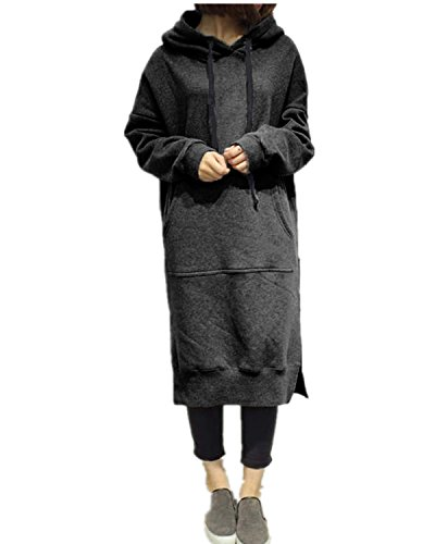 Style Dome Sudadera con Capucha para Mujer Largas Tallas Grandes Jersey Manga Larga Vestidos Sudadera Pullover Invierno Hoodie 001-Gris Oscuro 6227 M
