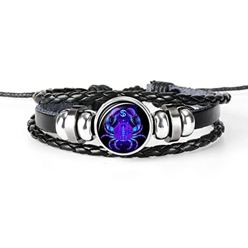 BECCYYLY Bracelet 12 Constellations Zodiac Black Braided Leather Bracelet Braided Glass Dome Jewelry Punk Men's Bracelet | Charm Bracelet |