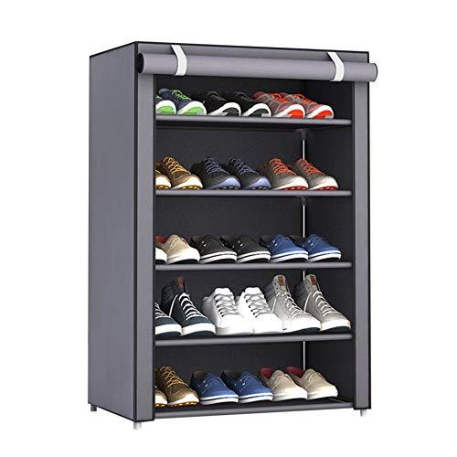 QiKun-Home Estante de Zapatos de Tela no Tejida a Prueba de Polvo de Gran tamaño, Organizador de Zapatos, Dormitorio, Dormitorio, Zapatero, Estante, gabinete, Gris Plateado, 6 Capas, 5 celosías