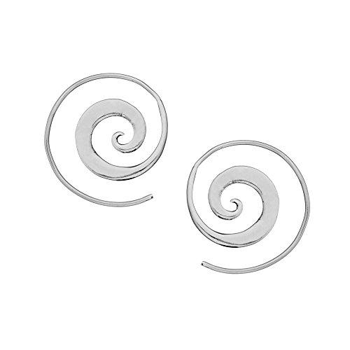 81stgeneration 25 mm Aretes Pendientes Espirales Sencillos Mujer Plata de Ley Esterlina .925