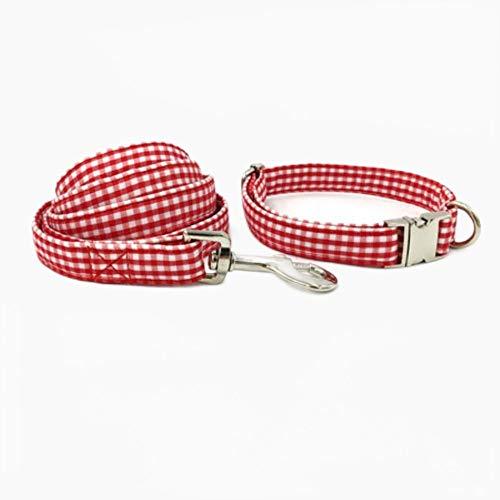 FANJIA Collar De Perro Conjunto De Correa para Collar De Perro con Pajarita Personal Personalizado Ajustable para Cachorro De Algodón Gato Perro Collar para Mascota Cuerda De Tracción A Rayas Rojas