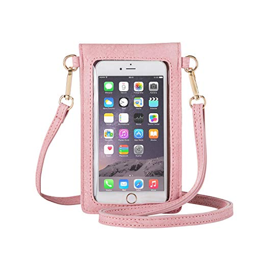 AnsTOP Lightweight Leather Mini Pouch Small Crossbody Bag Cell Phone Purse Wallet Shoulder Bags for Women, Fit with iPhone 11, X, 8 Plus (Pink)