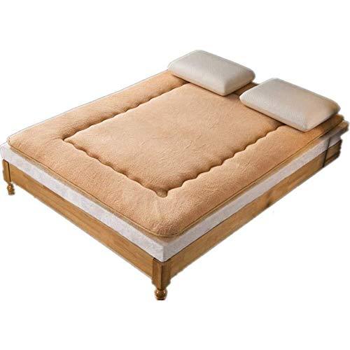 J-Kissen Plüsch-Futon-Matratze Topper, Folding Tatami Bodenmatte Kissen, Schlafbodenmatte, verdicken Matratze Topper Pad (Color : Light Tan, Size : 100x200cm(39x79inch))