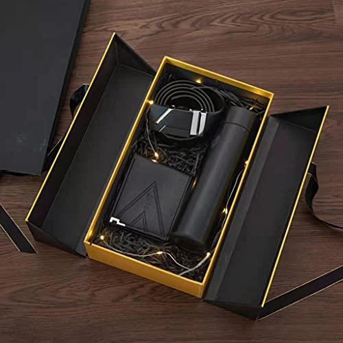 Diaod Coffret Cadeau pour Homme Ceinture d'emballage Exquise + Portefeuille + Tasse Thermos + Ensemble De Combinaison Créative De Mode Rasoir (Color : A)