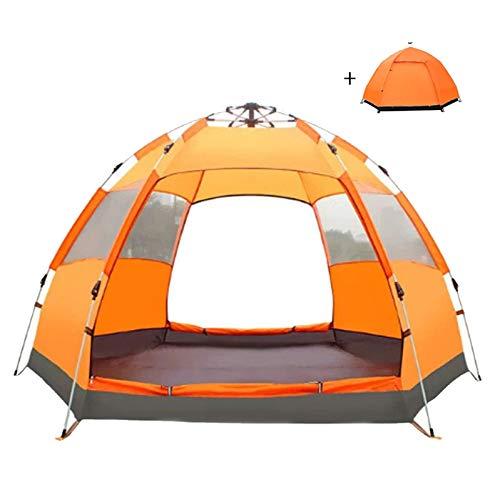QYY Carpas emergentes para 3-4 Personas para Acampar Dos Puertas de fácil instalación Carpa Familiar de Doble Capa para Viajes al Aire Libre, Senderismo, montañismoOrange