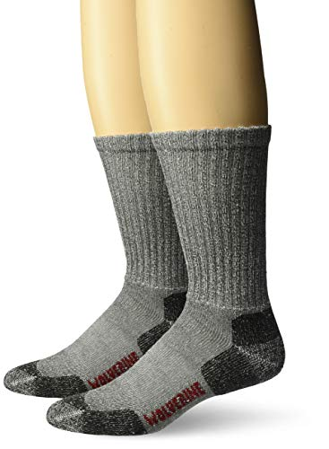 Wolverine Men's 2 Pack Safety Toe Moisture Wicking Acrylic Crew Socks, black, Large