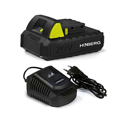 Hoberg Starterkit aus Universal-Akku 20 V, 2.0 Ah und Ladestation, passend Akku-Gartengeräte, integrierte Ladestandanzeige, Easy-Click-Funktion