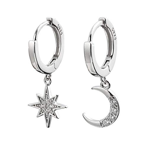 CZ Moon Star Dangle Small Hoop Earrings for Women Girls Sterling Silver Charms Crystal Asymmetrical Snowflake Crescent Drop Mini Cartilage Clip Jewelry Delicate Fashion Birthday Gifts (Silver)