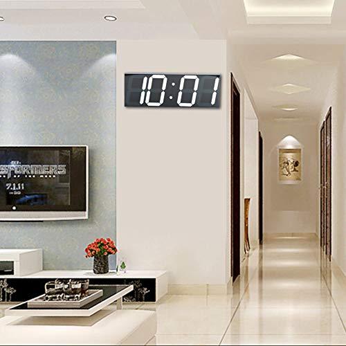 【 】Grande Orologio da Parete Digitale Bianco, Orologio elettronico a LED a Specchio per Spazio pubblico a casa 100-240V(Unione Europea)