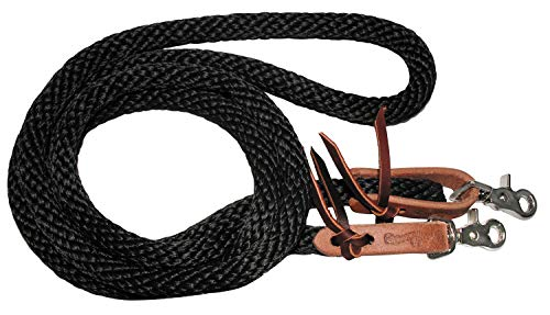 Circle Y Western Horse Tack Nylon Poly Single Rein Leather Bit Ends