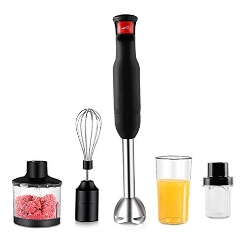 YFGQBCP 5 -In-1 Multi-Function Stainless Steel Immersion Blender, Ergonomic Comfortable Grip, High Performance, Adjust Speed Perfect for Baby Food, Soups And Shakes,500W