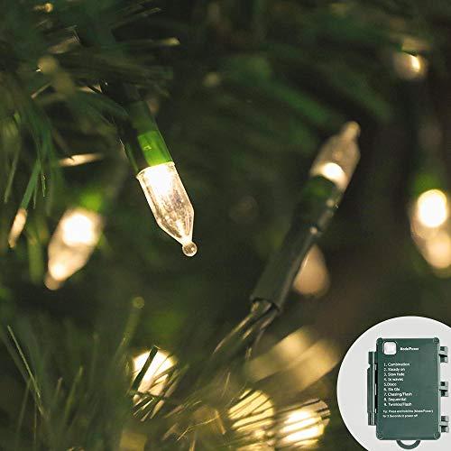 KooPower 100er LED Lichterkette Weihnachten Kette Leuchte auf Grünem Kabel, IP65 Wasserdicht Lichter mit Timer 9 Modi Innen-Außenbereich Lauflichter für Saal,Garten,Weihnachten,Hochzeite-Warmes Weiß