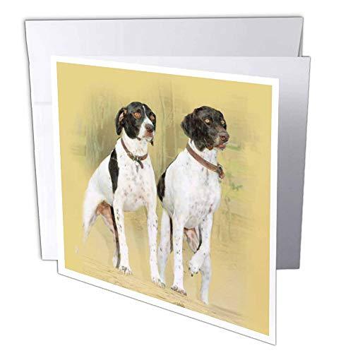 3D Rose GC 36129 twee 1 laserpointer jacht honden bij aandacht. Digitale olieverfschilderij - wenskaarten, 15,2 x 15,2 cm set van 6