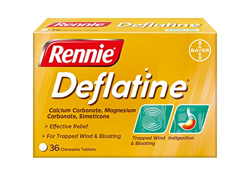 Rennie Deflatine, Trapped Wind and Bloating Tablets, Fast and Effective Heartburn Relief and Indigestion Relief, Sugar Free Mint, 1 Pack of 36 Tablets