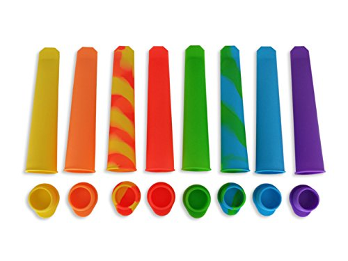 All Times Finest Silicone Ice Pop, Set of 8 Pc's Ice Popmaker / Molds. Healthy, Freeze and Flexible Pops. Easy Fun Colourful Family Treat. Smoothie, Yoghurt Seal-fully Snack.