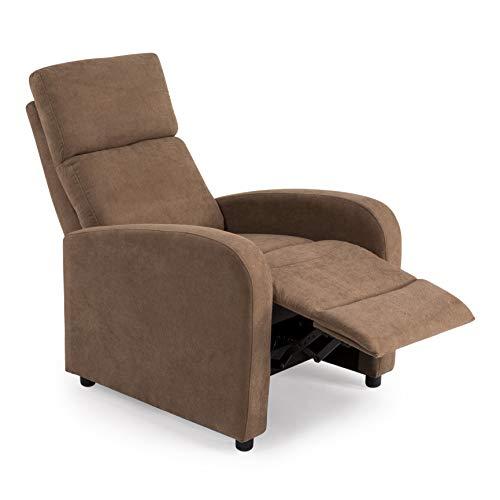 SWEET SOFA Sillón Relax NIBOR, butaca sillón reclinable con reposapiés, Sistema de Abertura Push en Elegante Tela Anti Manchas. Fabricación Nacional (Marrón)