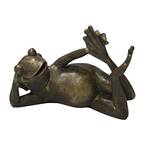 NRRN Figura de rana Zen Meditating - Figura decorativa de rana zen, diseño de rana de Buda, decoración de jardín, decoración de jardín de resina de poli