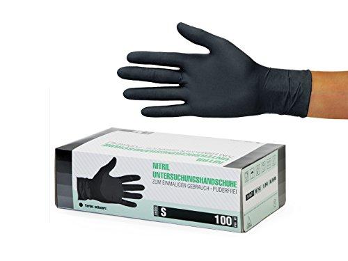 Nitrilhandschuhe 100 Stück Box (S, Schwarz) Einweghandschuhe, Einmalhandschuhe, Untersuchungshandschuhe, Nitril Handschuhe, puderfrei, ohne Latex, unsteril, latexfrei, disposible gloves, black, X Smal