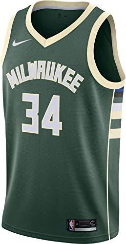 NIKE Mil M Nk Swgmn JSY Road Camiseta NBA Giannis Antetokoumpo, Hombre, fir/Flat Opal