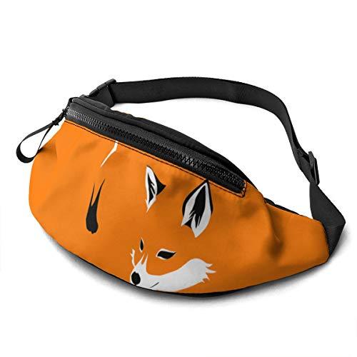 Dujiea Fanny Pack, Orange Fox Waist Bag with Headphone Hole Belt Bag Adjustable Sling Pocket Fashion Hip Bum Bag for Women Men Kids Outdoors Casual Travelling Hiking Cycling