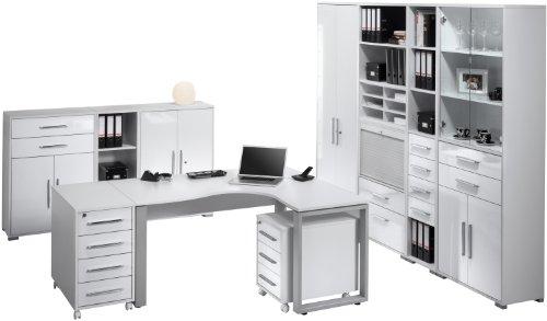 Maja-Möbel Büroprogramm 10-tlg. System 1207 3956 | In Icy-weiß und Weiß Hochglanz